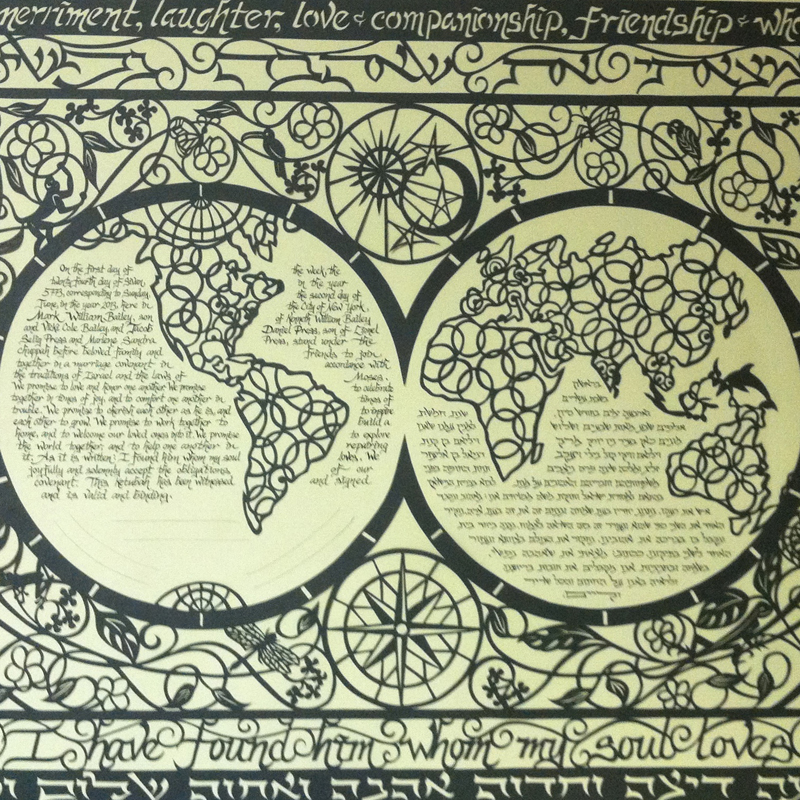 World Map Ketubah